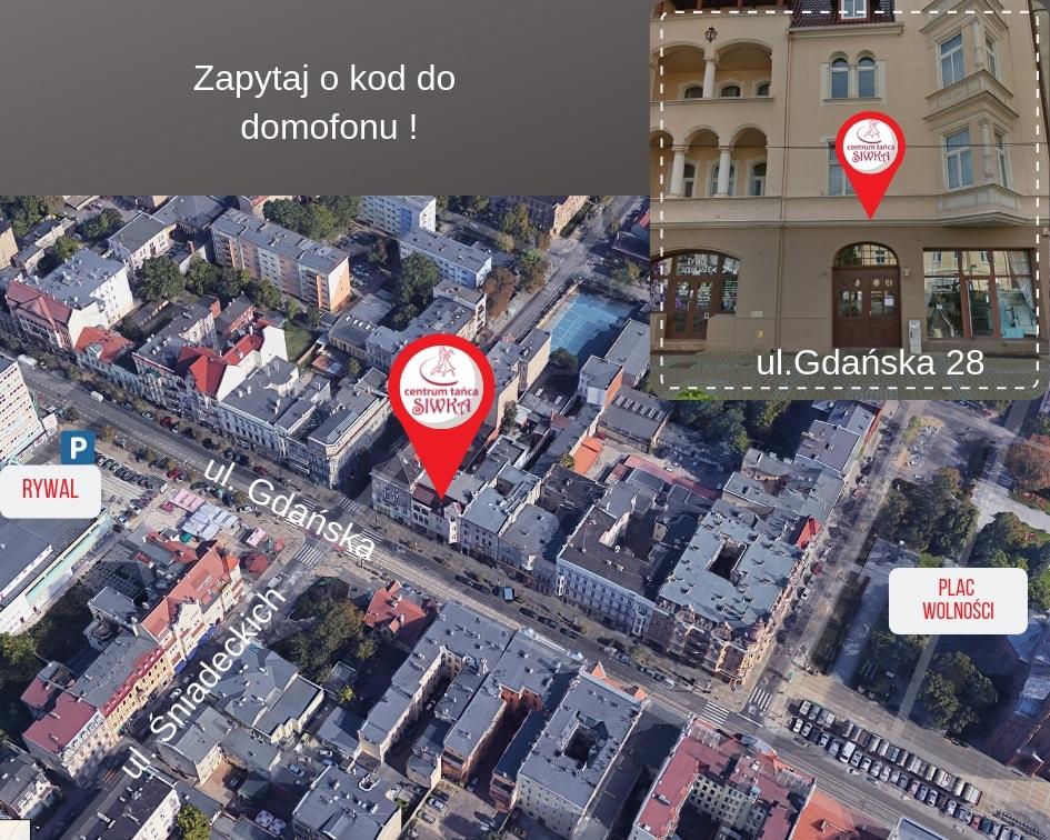 Mapka z lokalizacją Centrum Tańca Siwka
